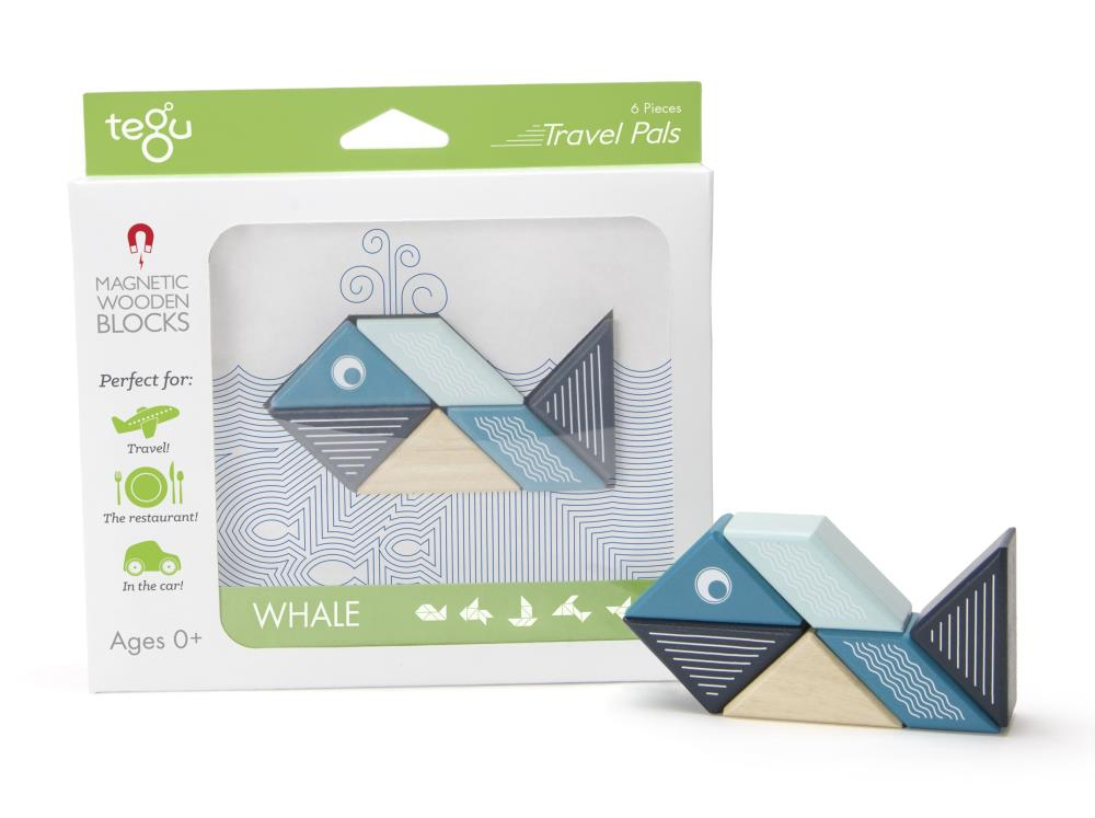 TEGU Drewniane klocki magnetyczne TRAVEL PALS 6szt Wieloryb