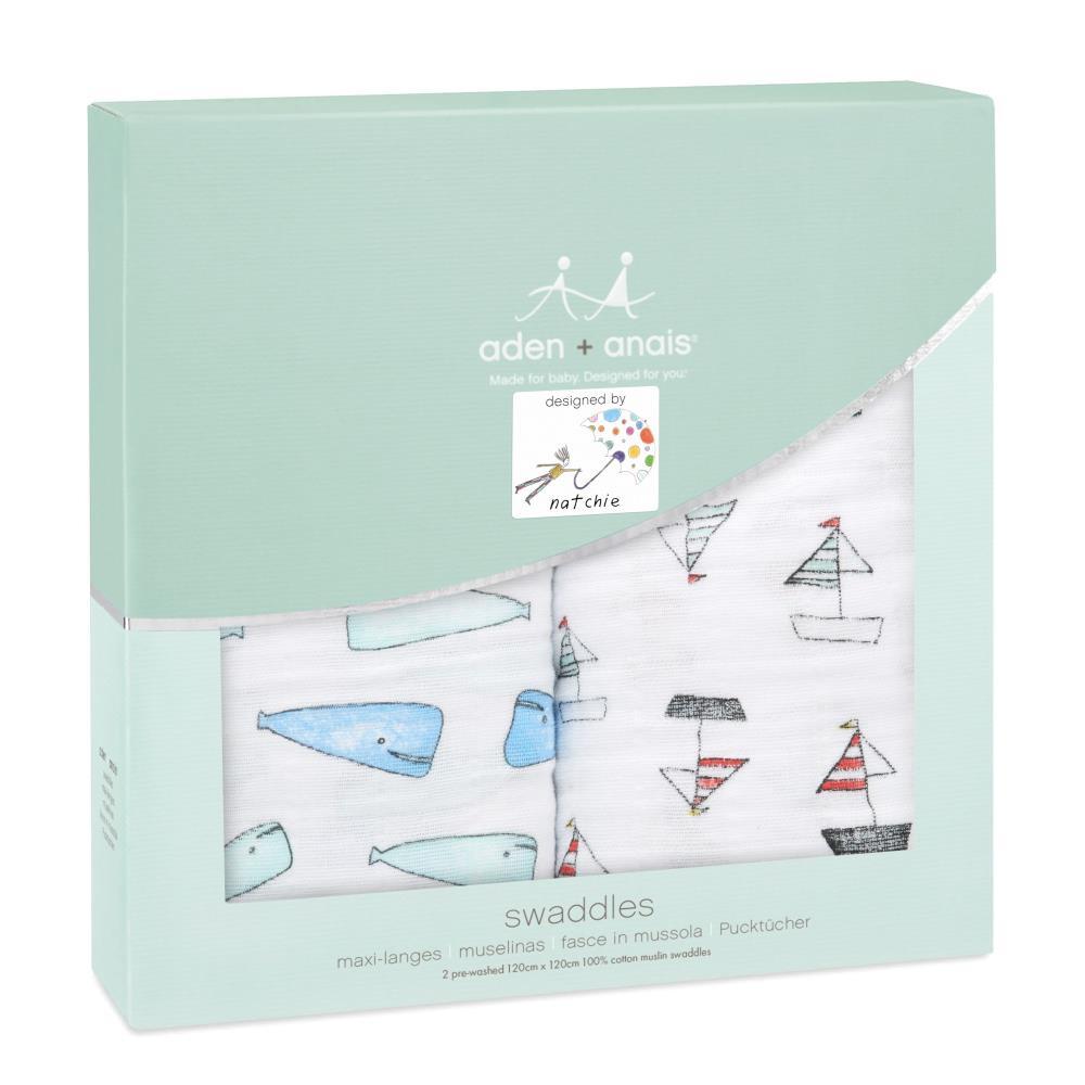 aden+anais Otulacz muślinowy whales boats 2szt