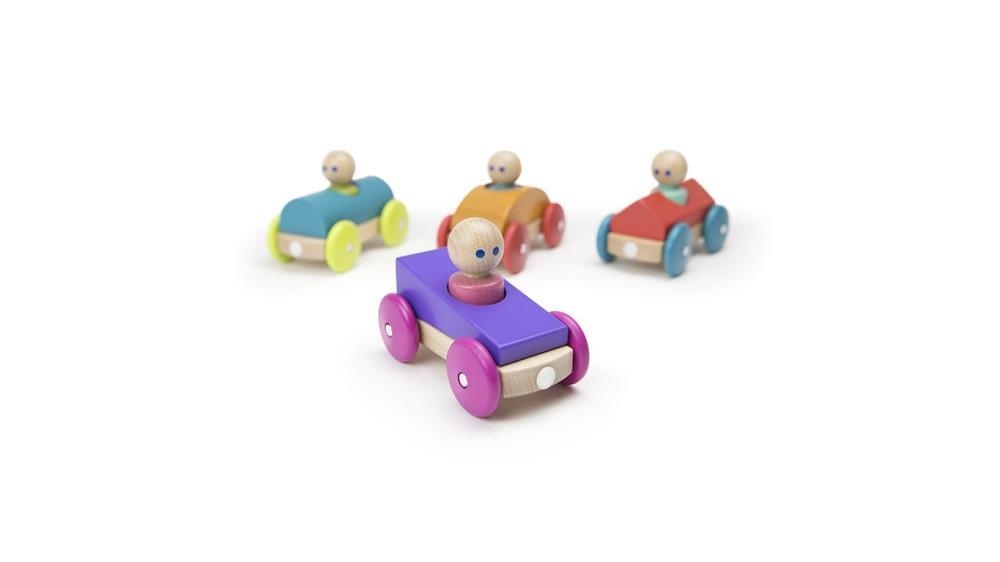 TEGU Drewniane klocki magnetyczne BABY AND TODDLER Wyścigówka Purple