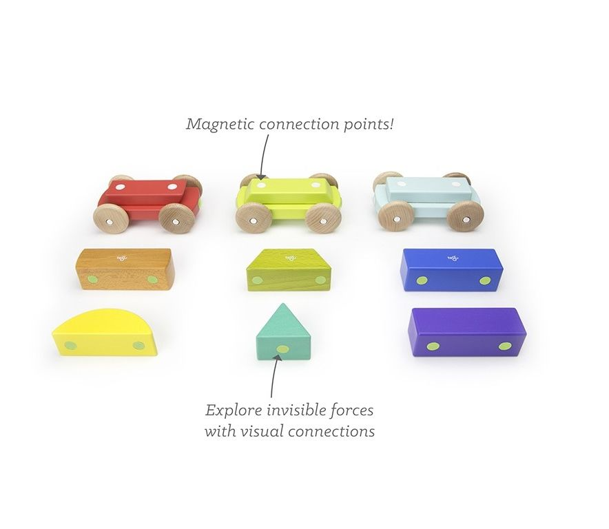 TEGU Drewniane klocki magnetyczne BABY AND TODDLER Magnetyczny pociąg Rainbow