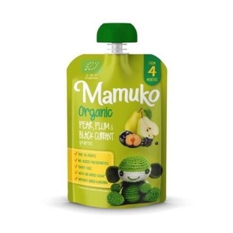 MAMUKO Puree owocowe BIO gruszka śliwka czarna porzeczka