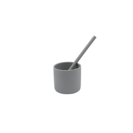 MINIKOIOI Słomki silikonowe 2szt z czyścikiem szare