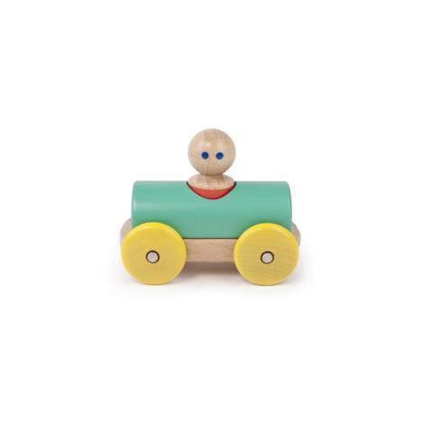 TEGU Drewniane klocki magnetyczne BABY AND TODDLER Wyścigówka Teal Yellow