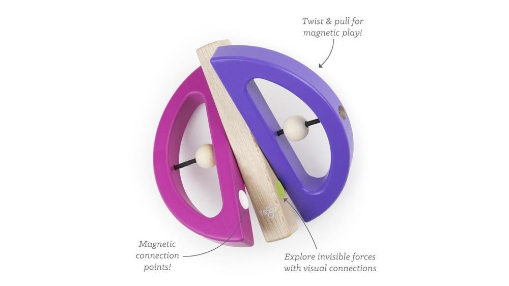 TEGU Drewniane klocki magnetyczne BABY AND TODDLER Swivel Bug Pink Purple