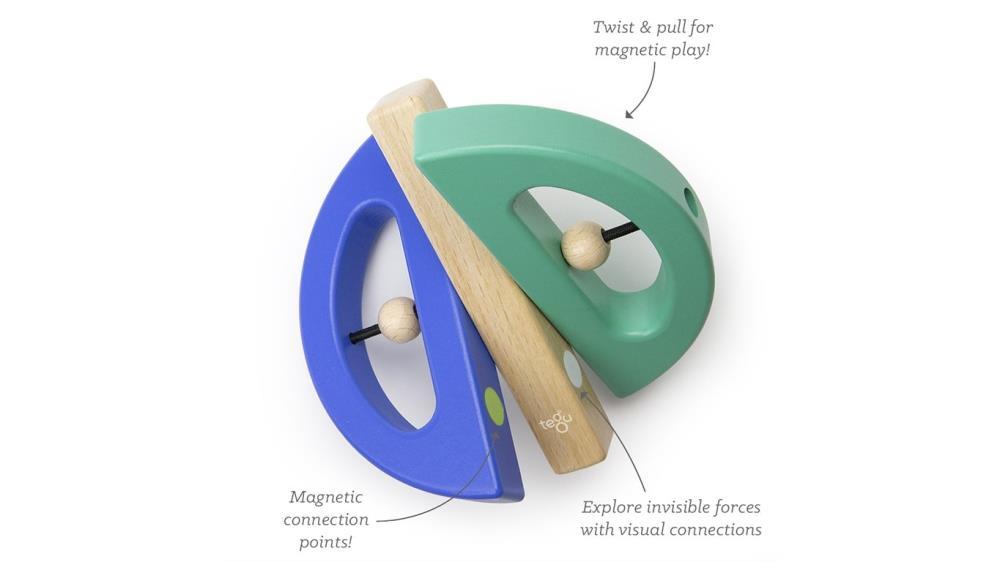 TEGU Drewniane klocki magnetyczne BABY AND TODDLER Swivel Bug Teal Blue
