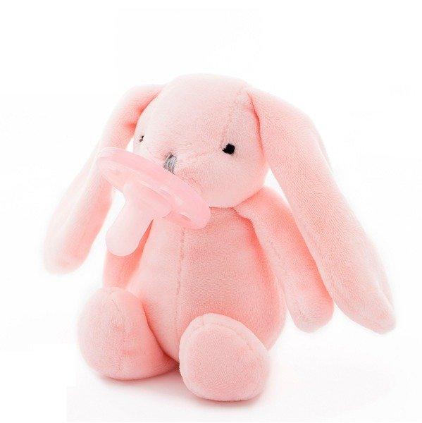 MINIKOIOI Smoczek uspokajający z przytulanką Pink Bunny