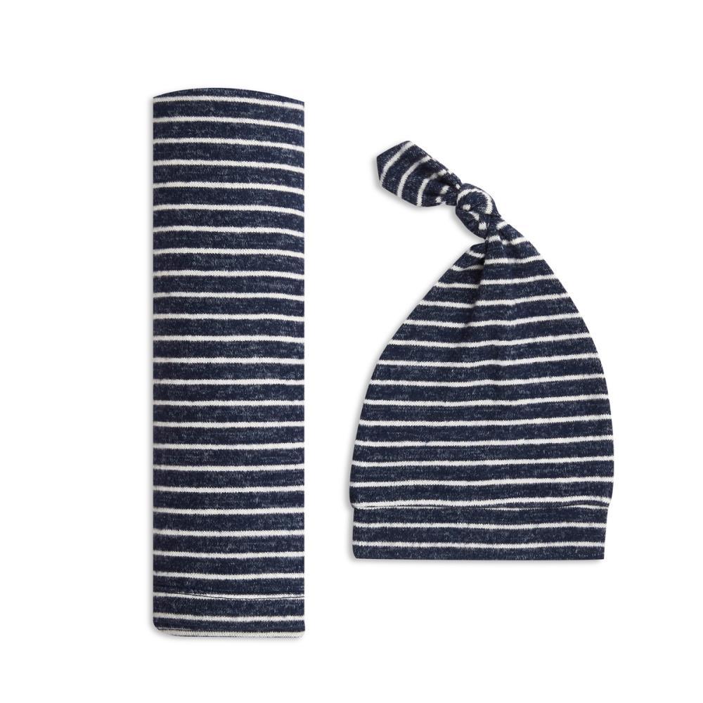 aden+anais Kocyk dzianinowy i czapeczka Snuggle Knit navy stripe