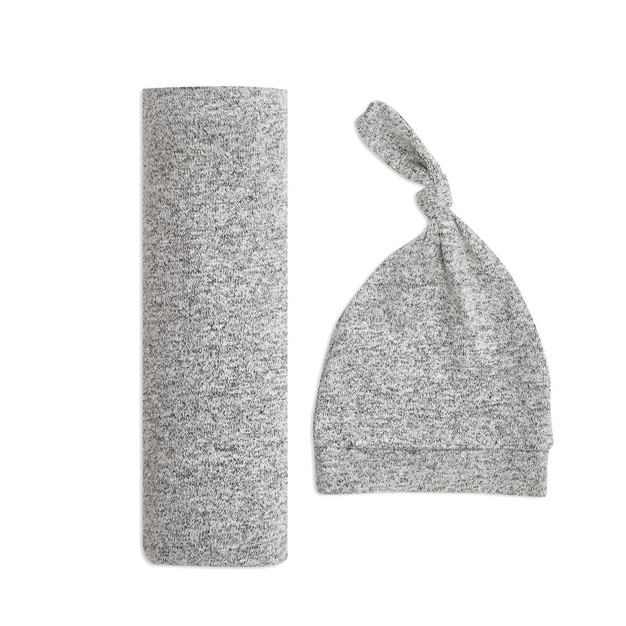 aden+anais Kocyk dzianinowy i czapeczka Snuggle Knit heather grey