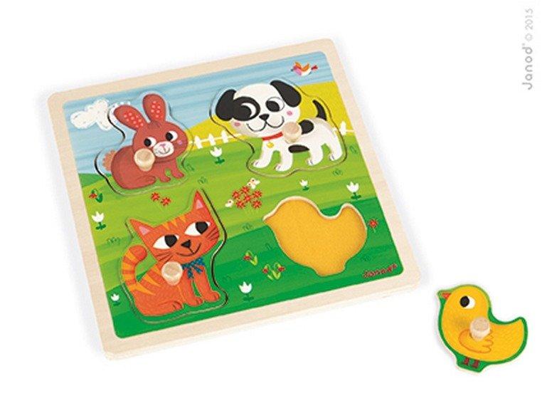 Janod Puzzle sensoryczne drewniane Moje pierwsze zwierzątka