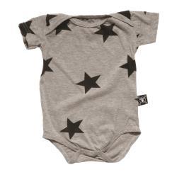 NUNUNU BABY Body szary melanż w gwiazdki 6-12m