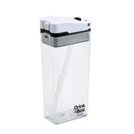DRINK IN THE BOX MODERN Bidon ze słomką CLEAR 350 ml