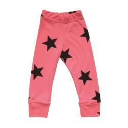 NUNUNU BABY Legginsy neon różowy w gwiazdki