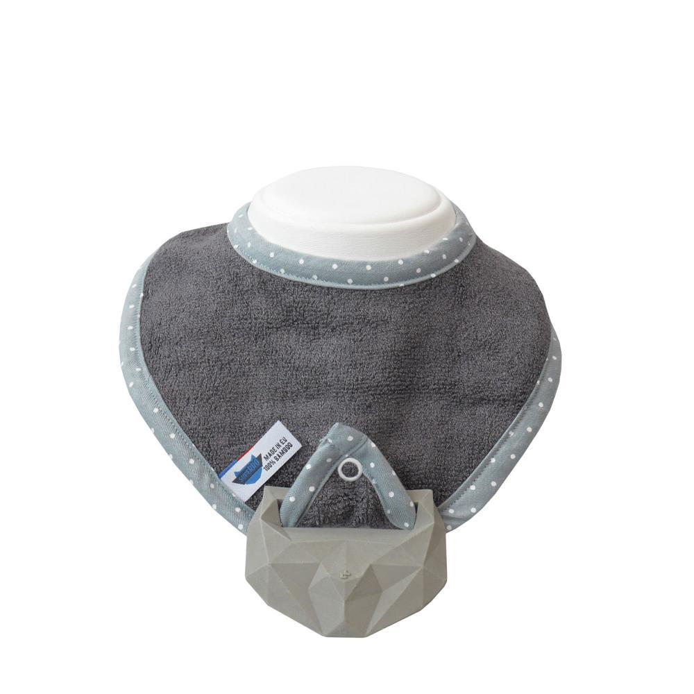 SupeRRO baby hevea gray - śliniak z gryzakiem