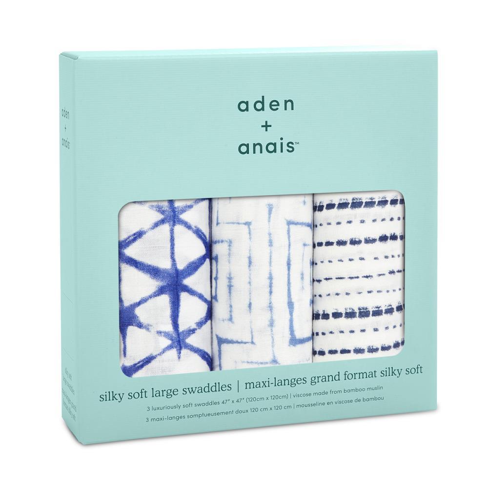 aden+anais Otulacz bambusowy indigo shibori 3szt