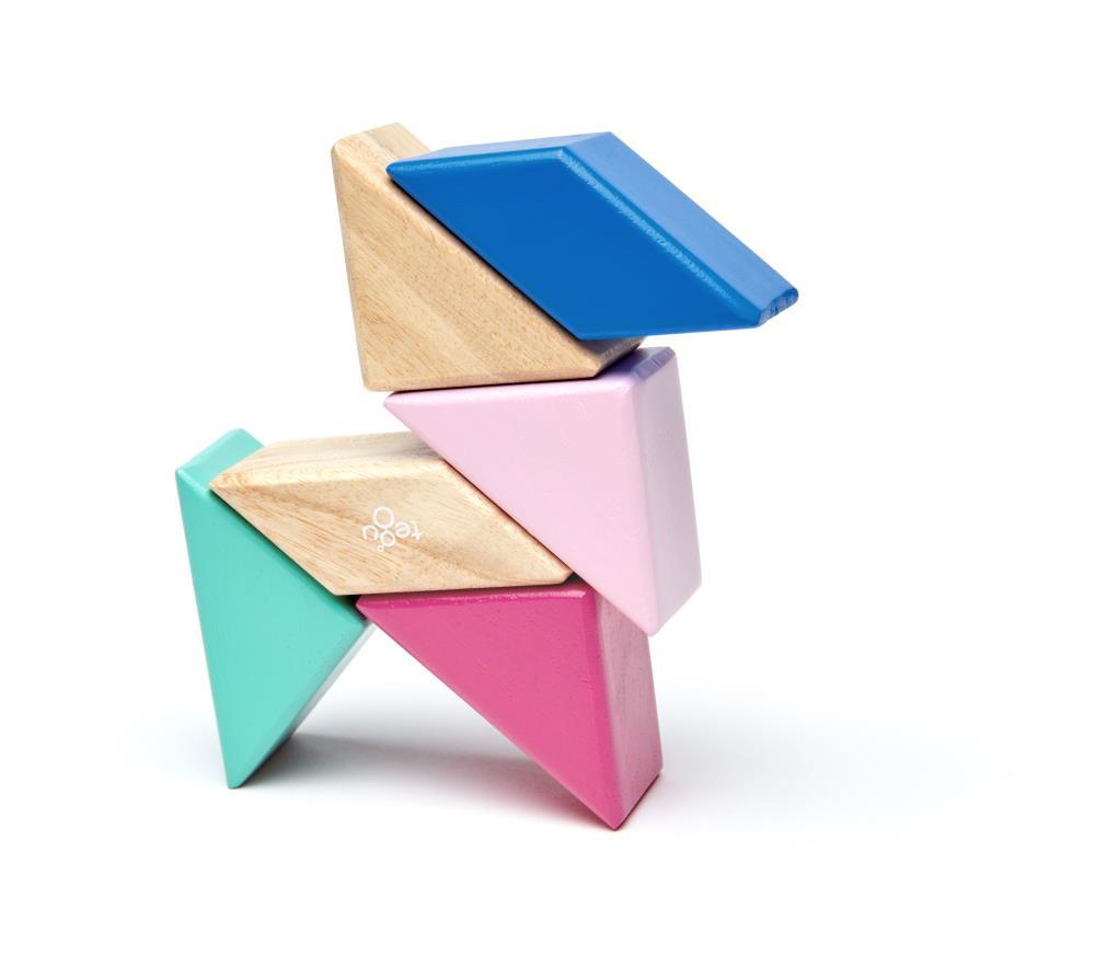 TEGU Drewniane klocki magnetyczne POCKET POUCH PRISM 6szt Blossom
