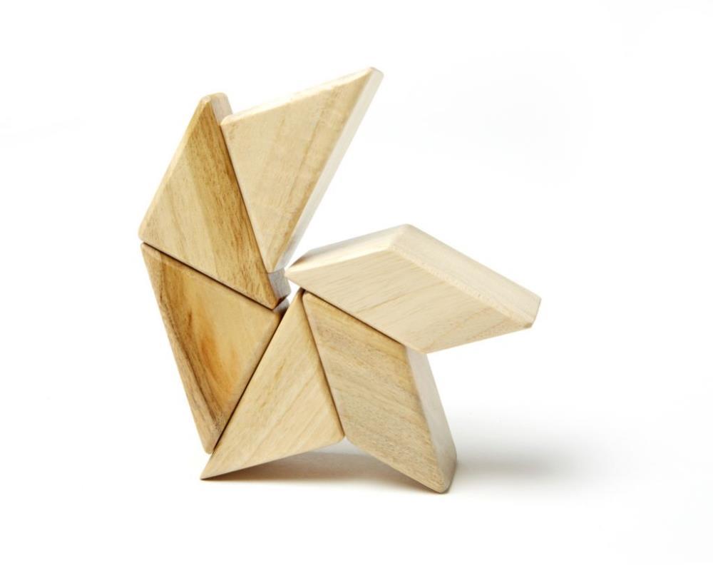 TEGU Drewniane klocki magnetyczne POCKET POUCH PRISM 6szt Natural