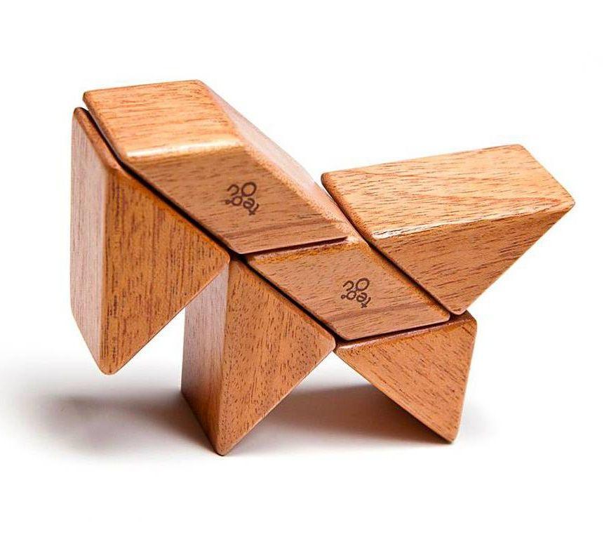 TEGU Drewniane klocki magnetyczne POCKET POUCH PRISM 6szt Mahogany